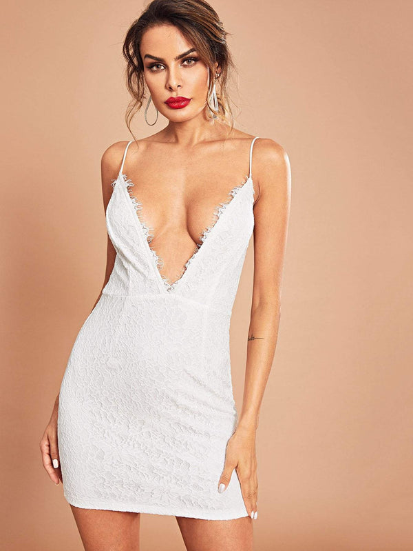 Zip Back V Neck Cami Dress