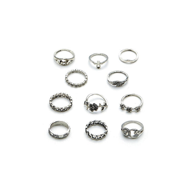 Flower & Star Design Ring Set 11pcs