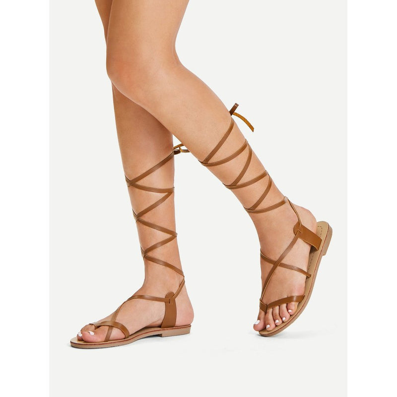 Lace Up Knee High Gladiator Sandal Boots - Salted Seagull