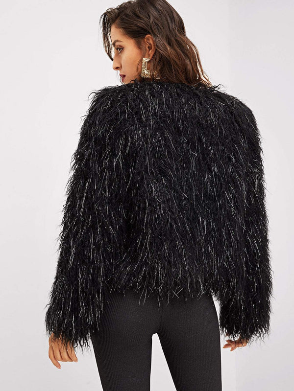 Open Front Faux Fur Coat - Salted Seagull