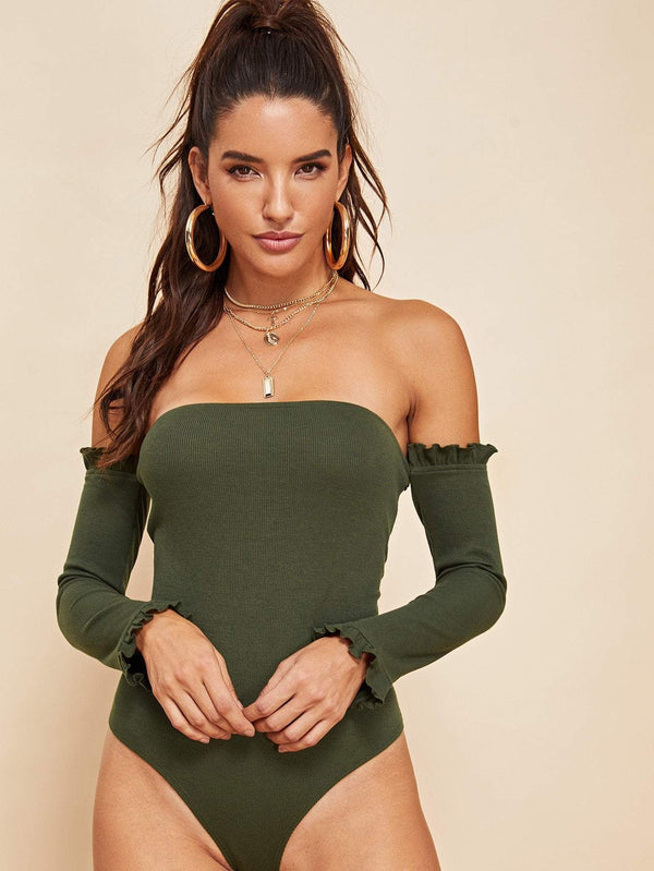 Ruffle Detail Ribbed Knit Solid Bodysuit