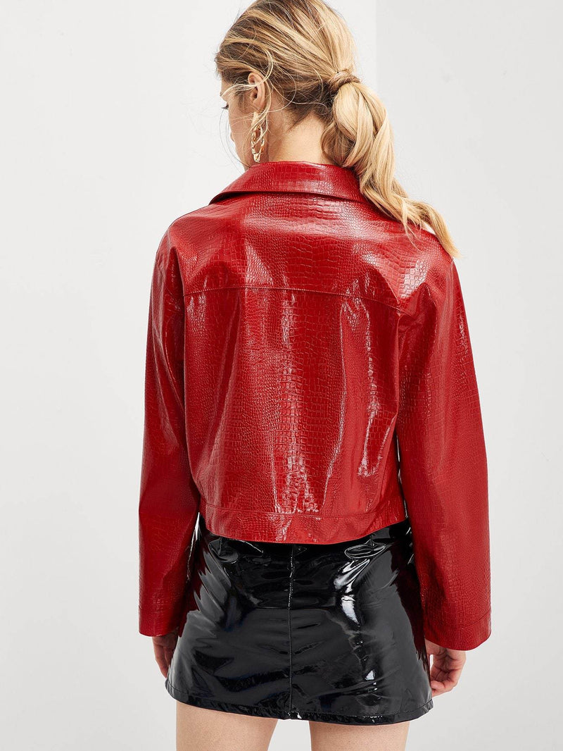 Crocodile Embossed Faux Leather Jacket