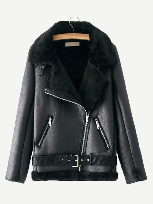 Zipper Front Contrast Faux Fur Jacket - Salted Seagull