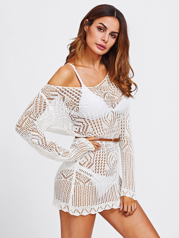 Off Shoulder Scallop Trim Open Knit Cover Up - Salted Seagull