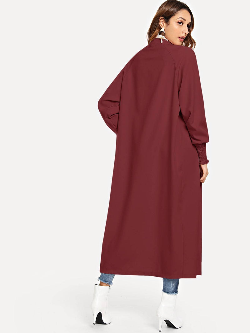 Single Breasted Solid Trench Coat