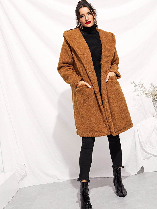 Drop Shoulder Pocket Front Teddy Coat - Salted Seagull