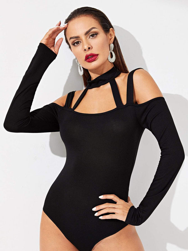 Strappy Neck Form Fitting Solid Bodysuit