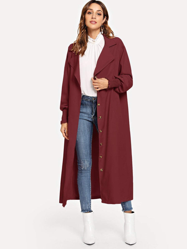 Single Breasted Solid Trench Coat - Salted Seagull