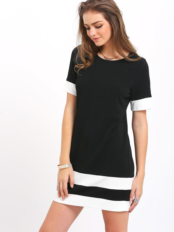 Color Block Stripe Short Sleeve Shift Dress