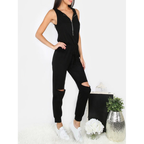 Zipper Front Ripped Knee Jumpsuit