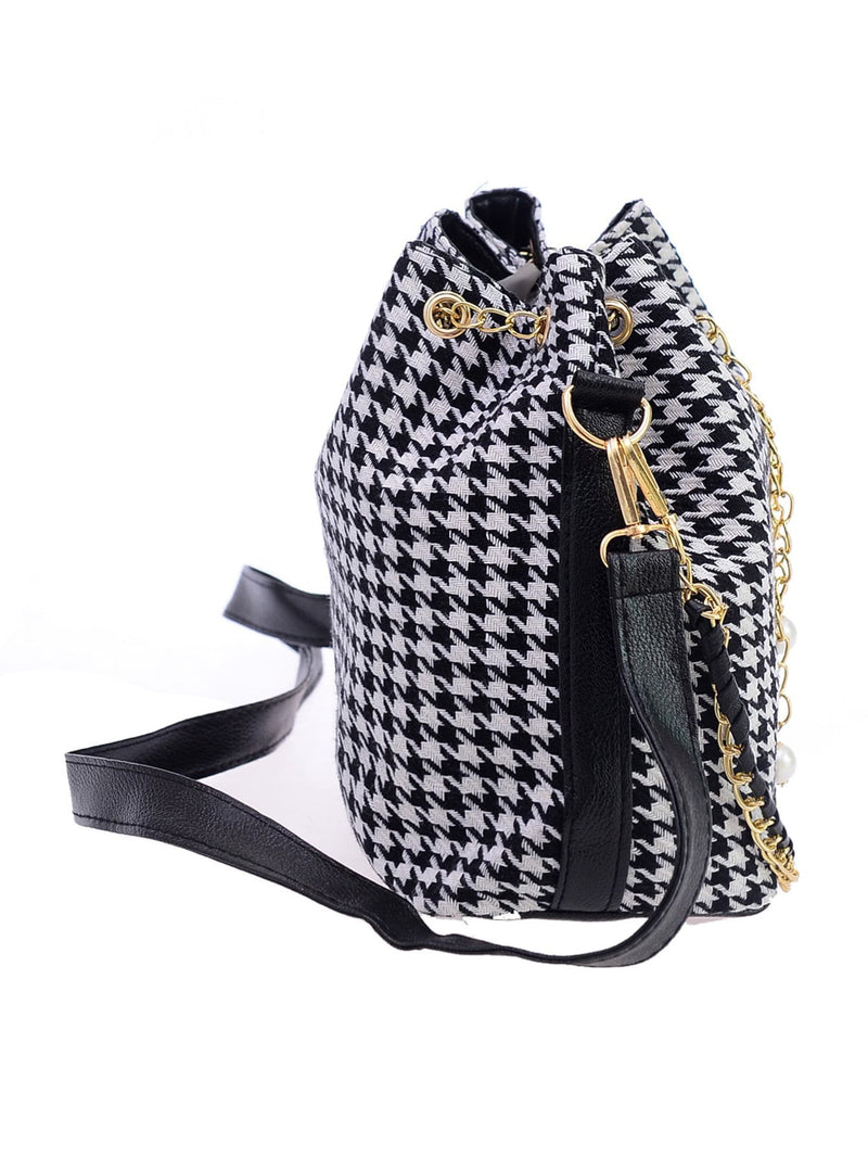 Houndstooth Print Tassel Drawstring Bucket Bag - Salted Seagull