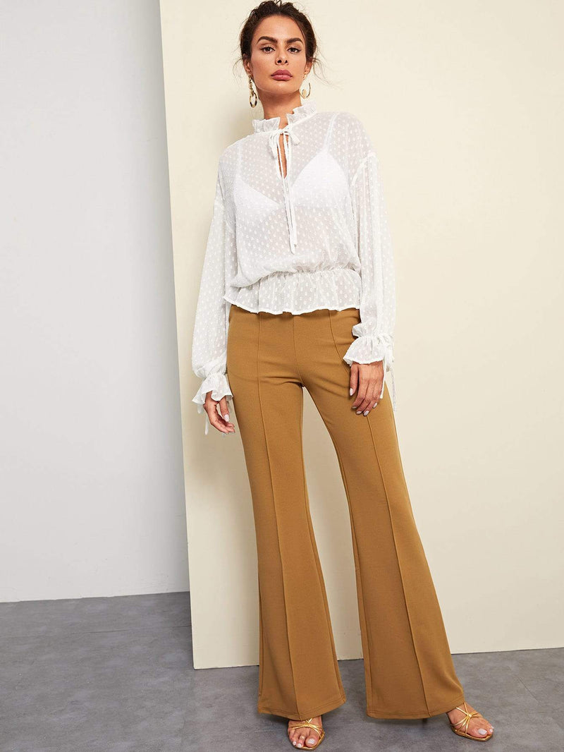 Tie Neck Flounce Semi Sheer Jacquard Top