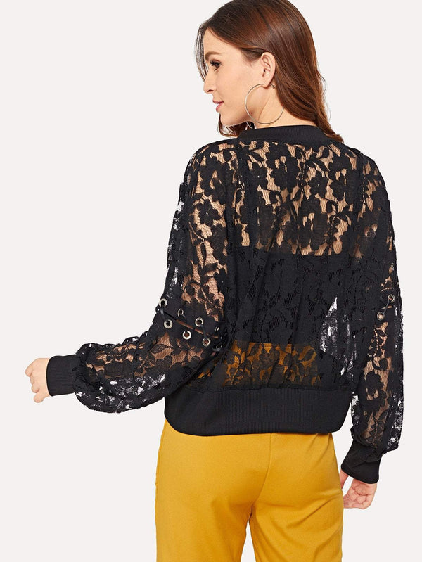 Eyelet Detail Lace Jacket