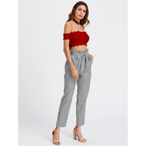 Off Shoulder Lettuce Edge Trim Crop Top