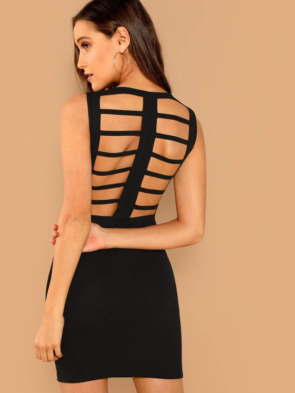 Backless Solid Bodycon Dress