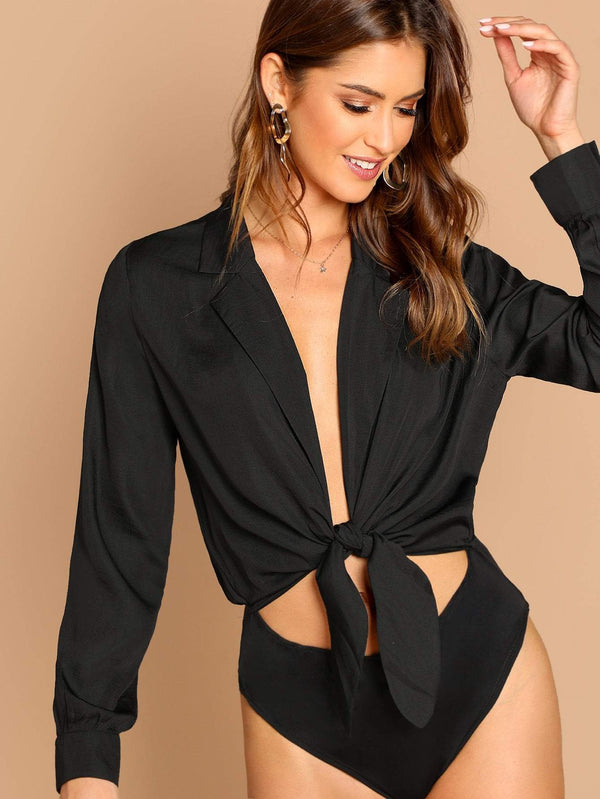 Cut Out Tie Front Blouse Top Bodysuit