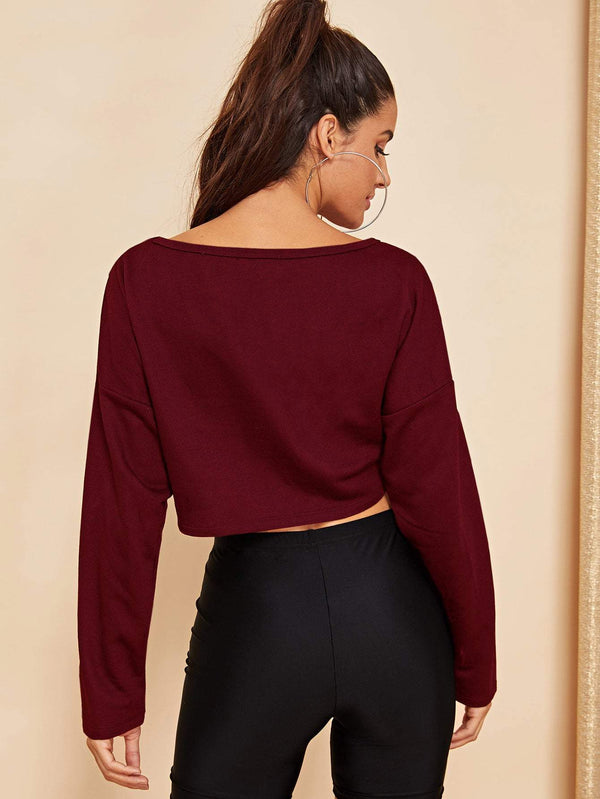 Drop Shoulder Crop Pullover