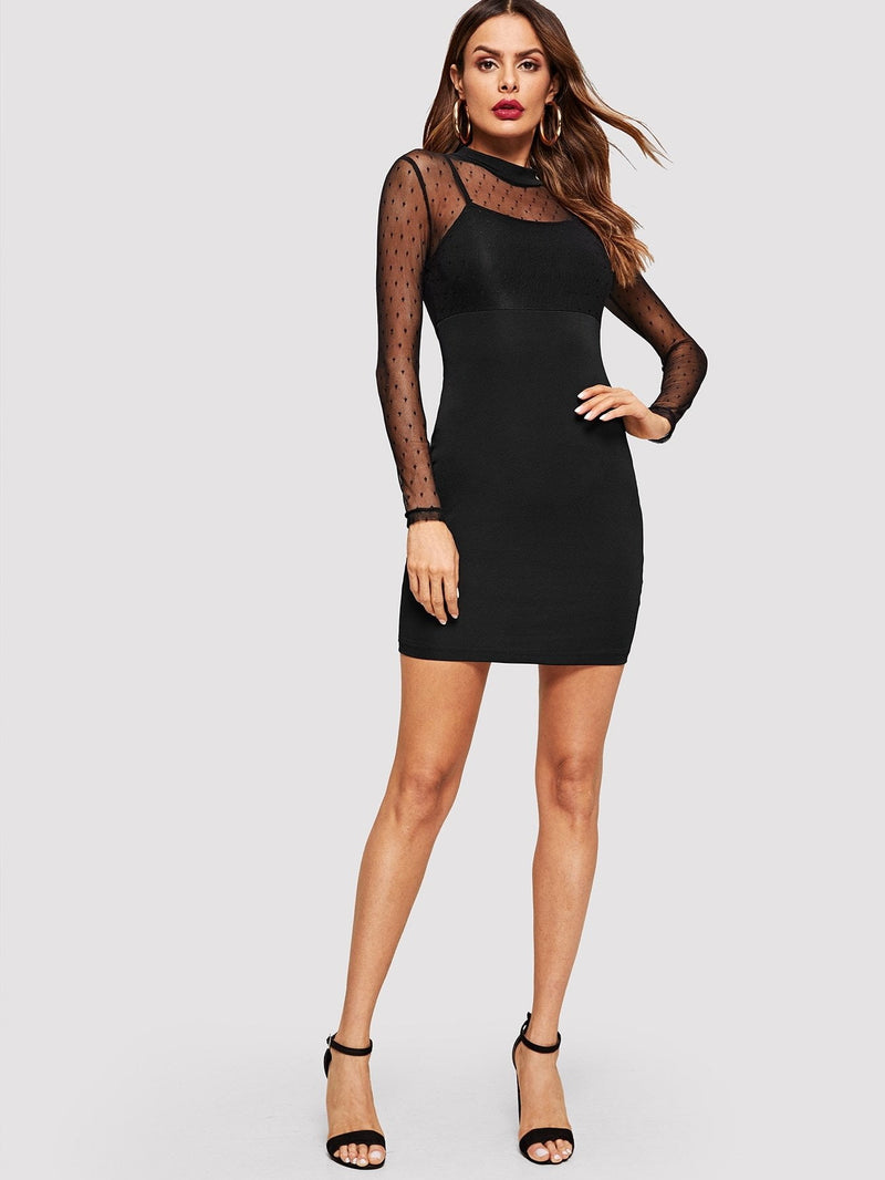 Contrast Mesh Sheer Dress