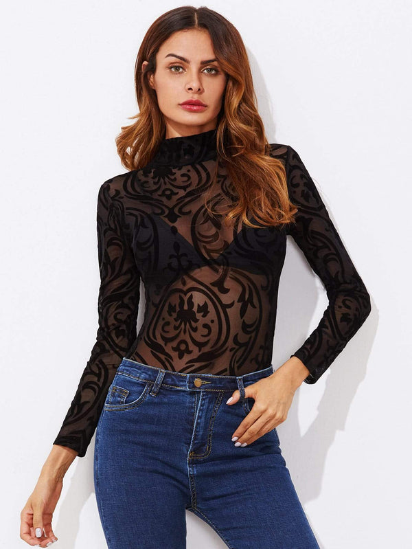 Mock Neck See Through bodysuit