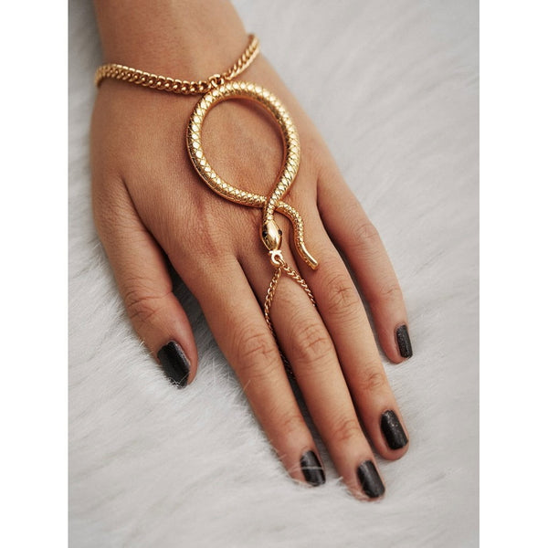 Snake Design Toe Ring Chain Bracelet