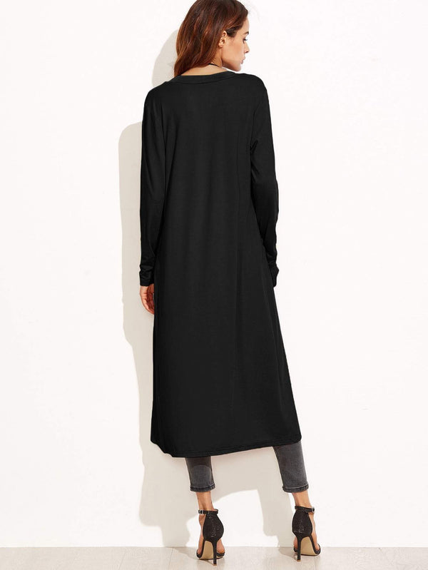 Collarless Longline Duster Coat - Salted Seagull