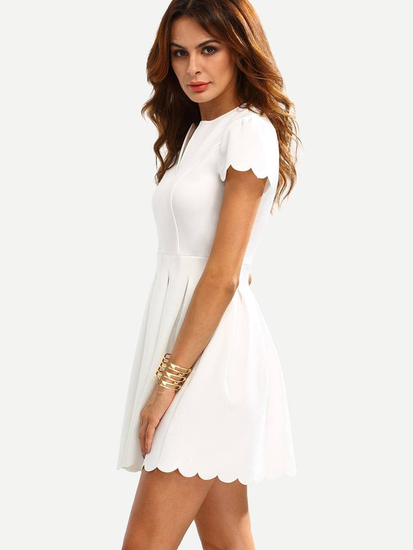 Notch Neck Scallop Trim Fit&Flare Dress