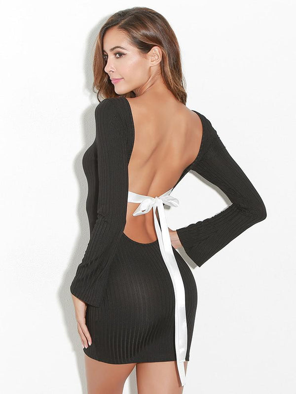 Contrast Bow Tie Backless Ribbed Dress
