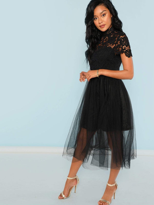 Floral Lace Bodice Mesh Dress