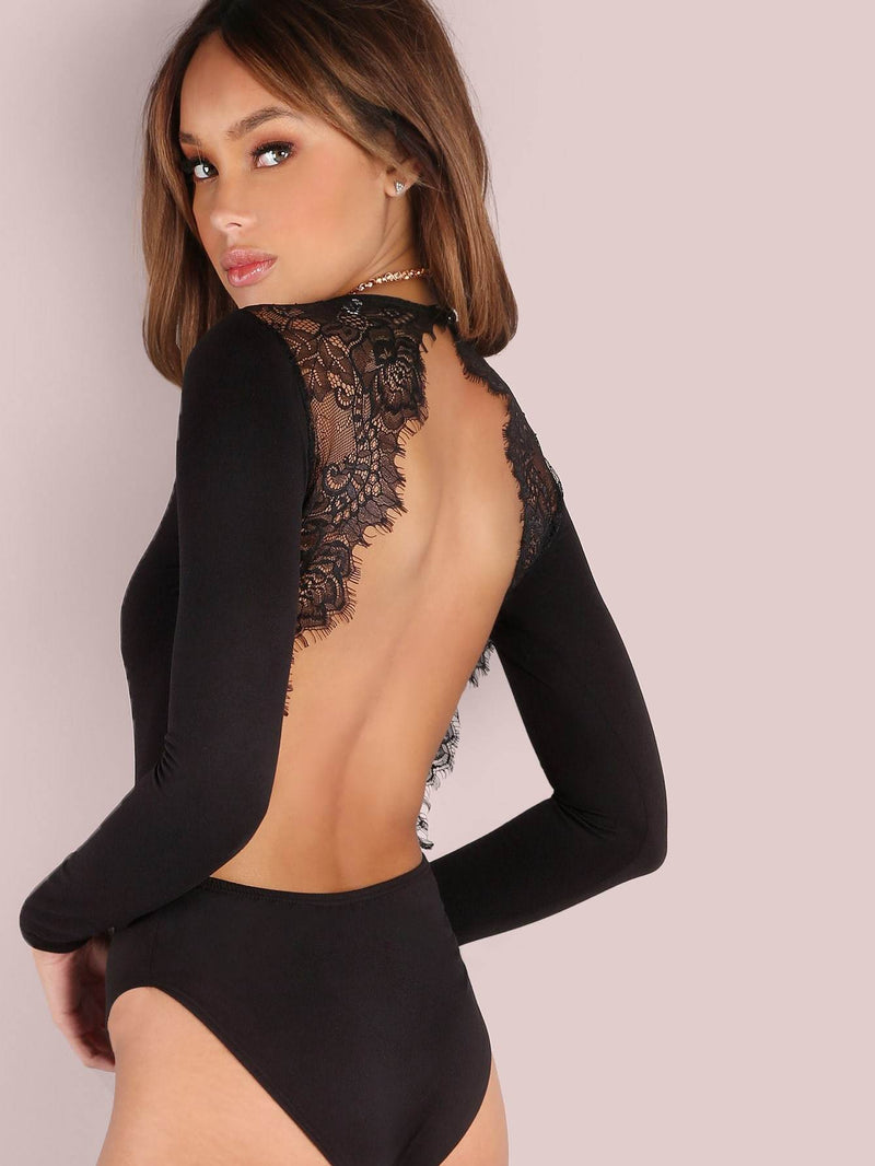 Backless Lace Applique Bodysuit - Salted Seagull