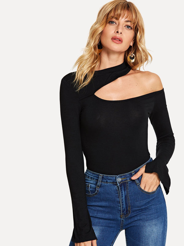 Asymmetrical Neck Long Sleeve Tee