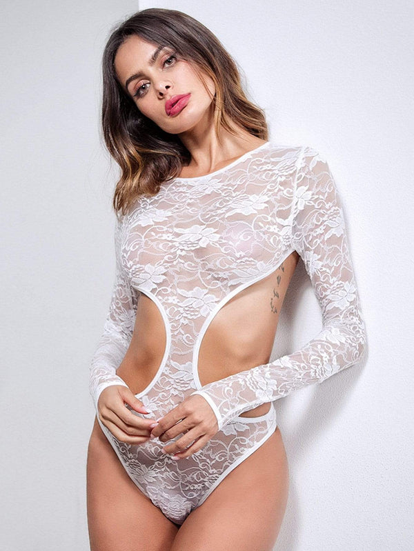 Cut-Out Floral Lace Teddy Bodysuit