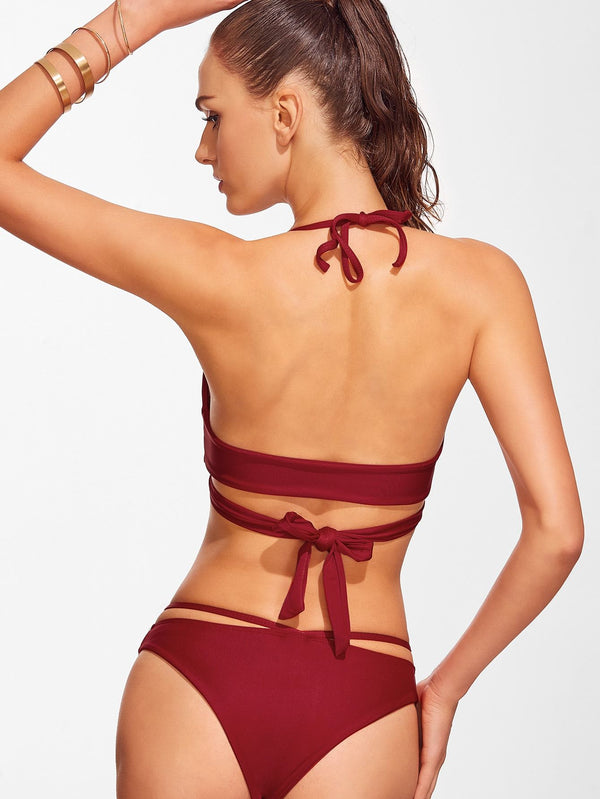 Cross Front Lace-Up Halter Bikini Set - Salted Seagull