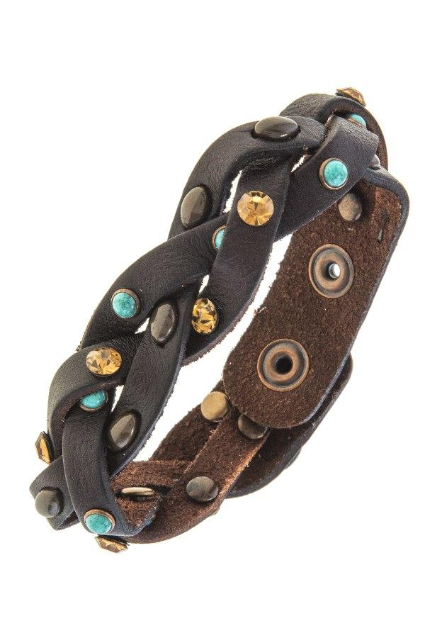 Braided faux leather band bracelet