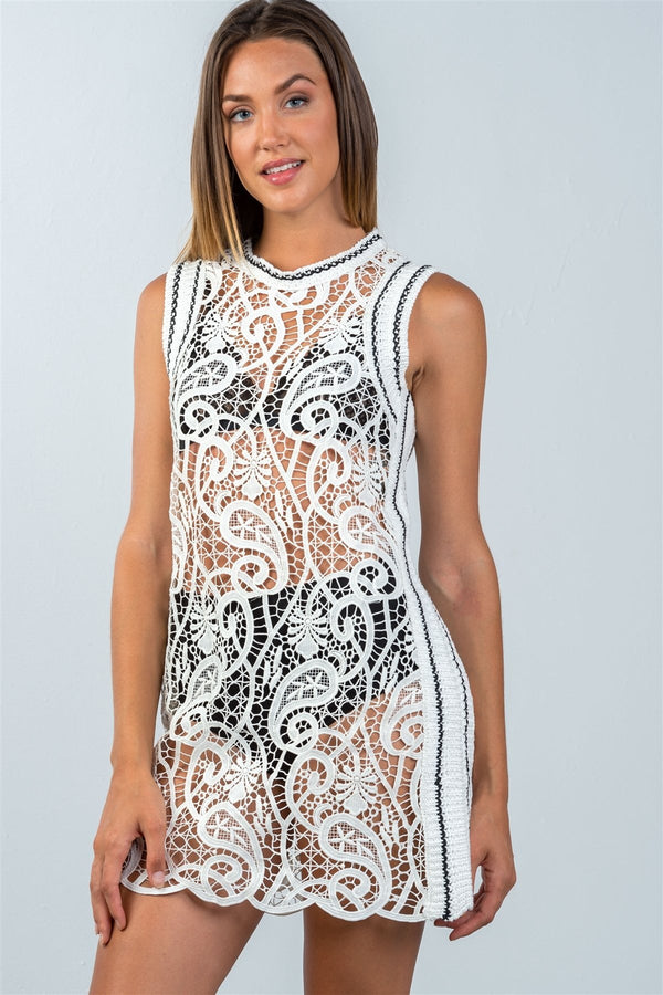 Ladies fashion mini length knit crochet sleeveless dress