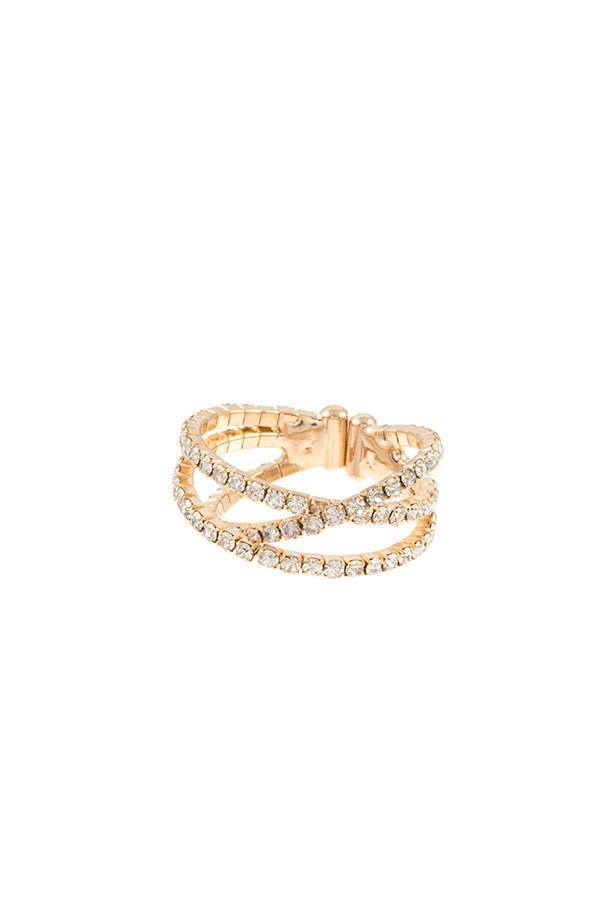 Intertwined multi row rhinestone ring