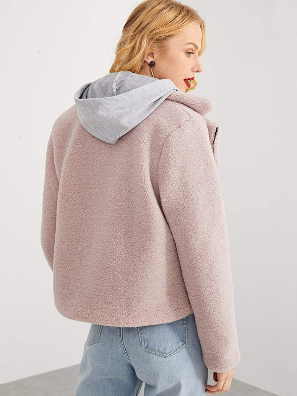 Zip Front Notched Neck Solid Teddy Coat - Salted Seagull