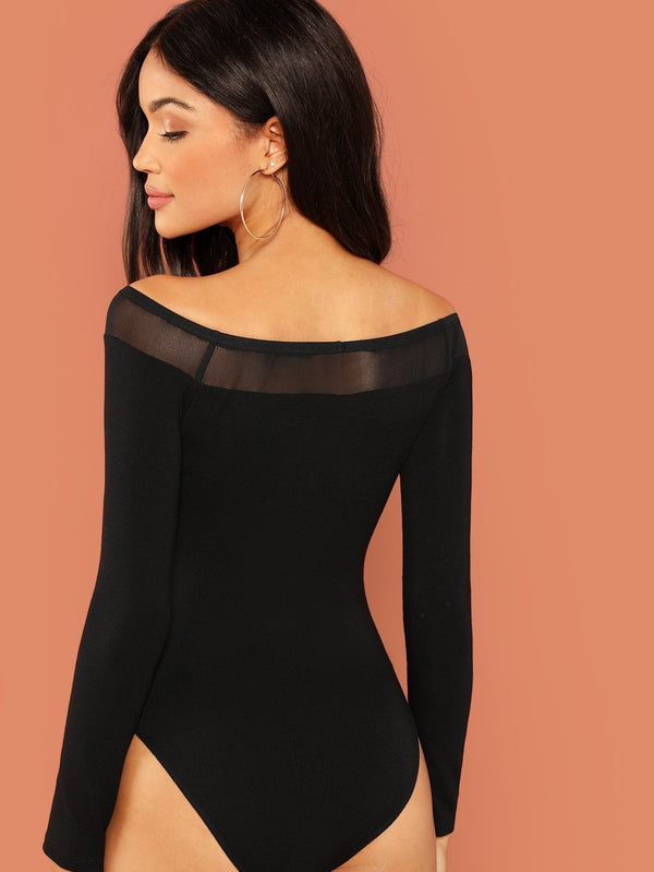 Mesh Insert Off Shoulder Solid Bodysuit