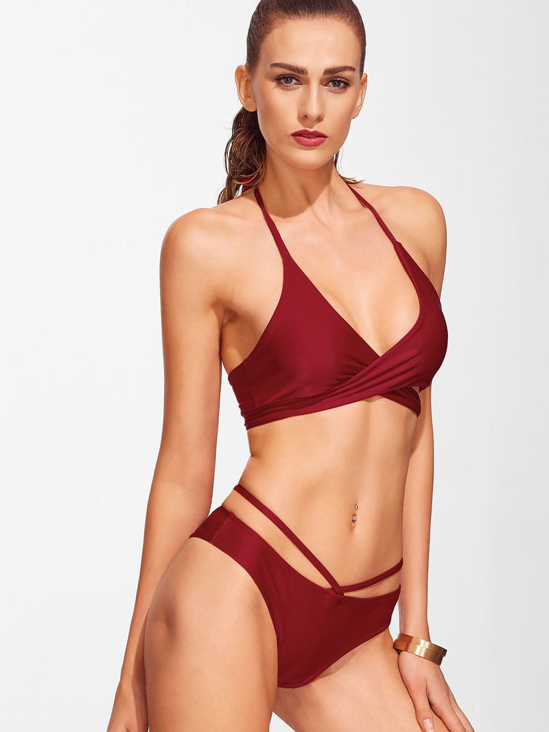 Cross Front Lace-Up Halter Bikini Set
