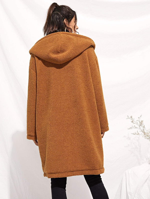 Drop Shoulder Pocket Front Teddy Coat