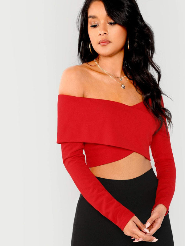 Zipper Back Off Shoulder Crop Top