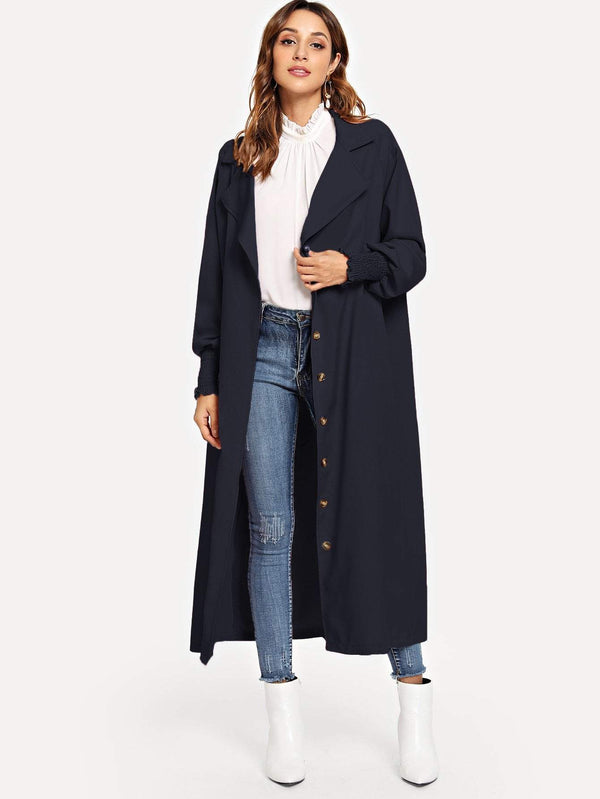 Single Breasted Longline Solid Coat