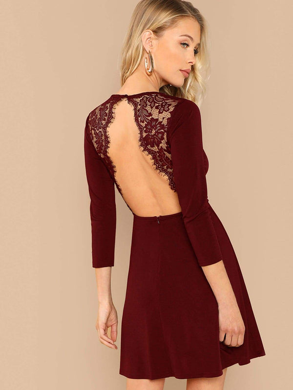 Lace Contrast Backless Dress