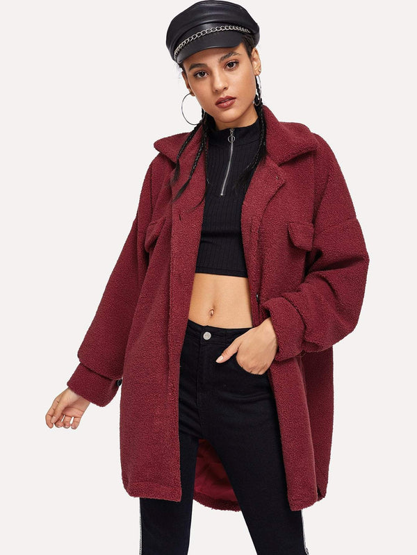 Single Breasted Pocket Side Teddy Outerwear