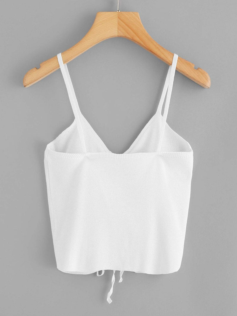 Shirred Drawstring Knit Cami Top