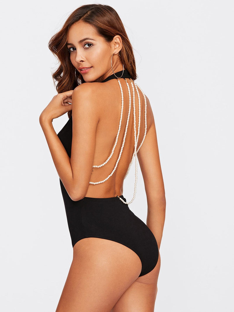 Beading Strappy Back Plunge Halter Bodysuit - Salted Seagull