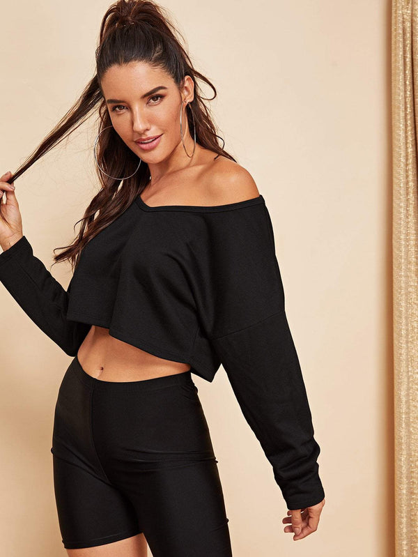 Drop Shoulder Crop Pullover - Salted Seagull
