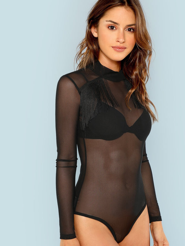 Long Sleeve Sheer Mesh Bodysuit