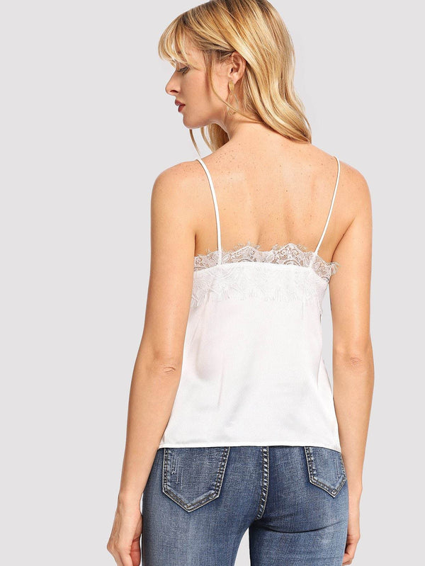 Button Front Contrast Lace Cami Top