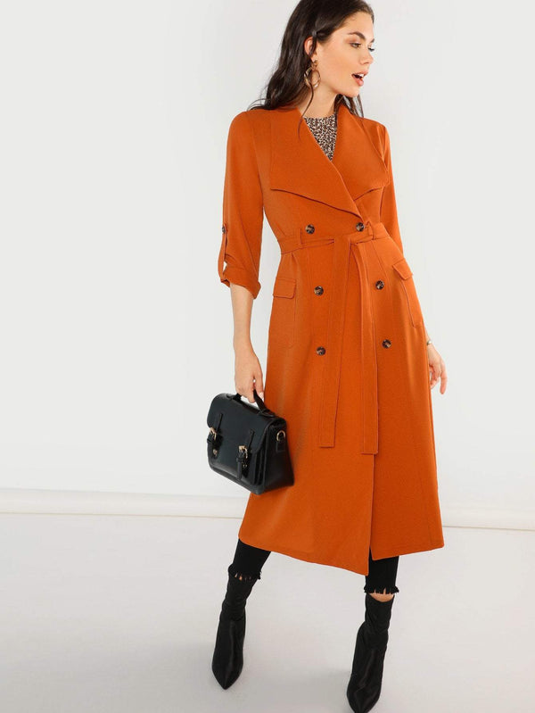 Waist Belted Double Breasted Waterfall Coat - Salted Seagull