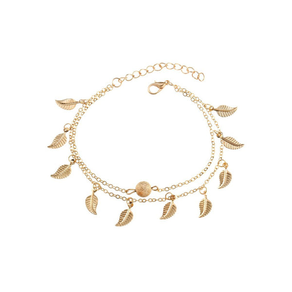 Metal Leaf Decorated Chain Anklet - Salted Seagull